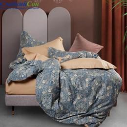 Комплект постельного белья Asabella 1410-6/180 с простыней на резинке Евро темно-синий