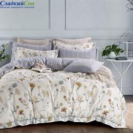 Комплект постельного белья Asabella 1481-6/180 с простыней на резинке Евро кремовый