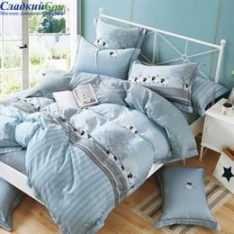 Комплект постельного белья Asabella 1464-6 Евро голубой